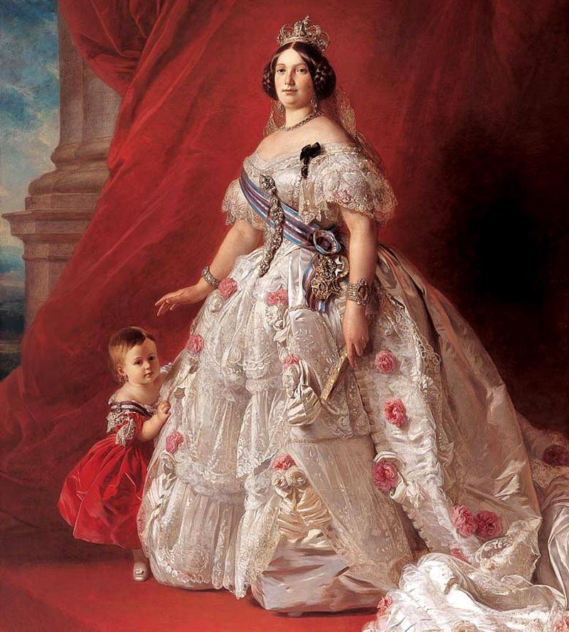 Isabel II y su hija la infanta Isabel Francisca