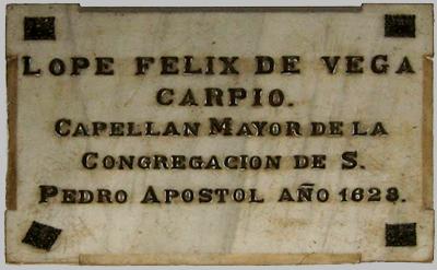 Placa Lope de Vega en la parroquia de los Dolores