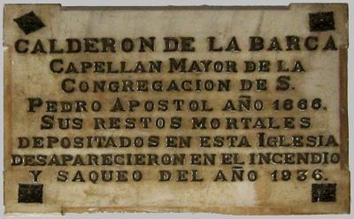 Placa Calderуn de la Barca en la parroquia de los Dolores
