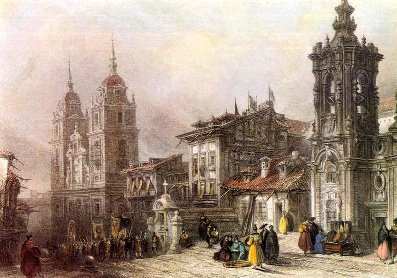 Antiguo grabado con las iglesias de Montserrat y del Noviciado