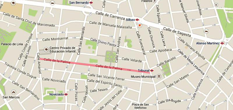 Plano de la calle de la Palma