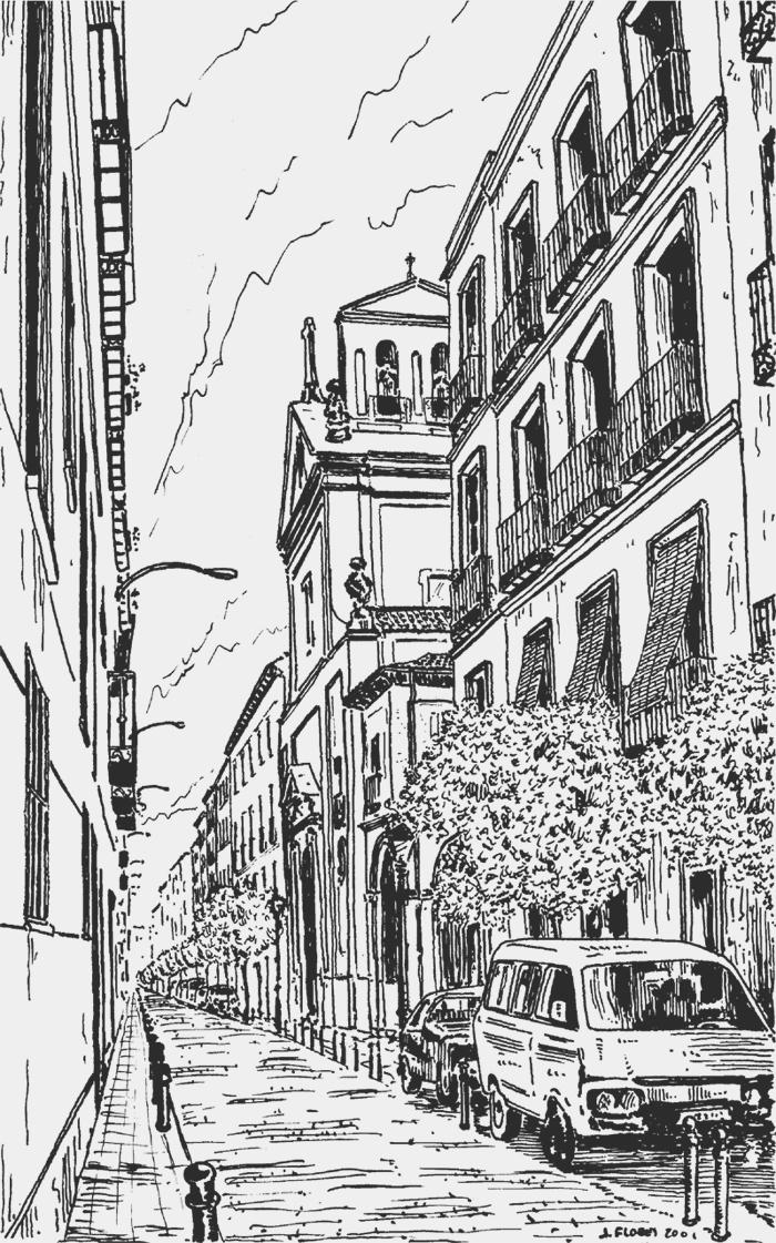 Calle de la Palma con la iglesia de Ntra. Sra. de las Maravillas