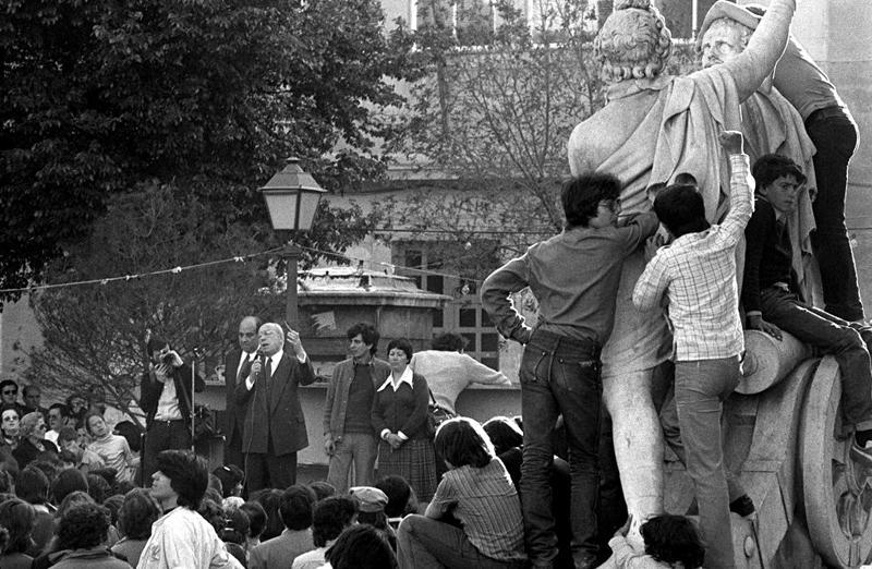 Tiermo Galvбn en la plaza del Dos de Mayo. Fiestas de 1979