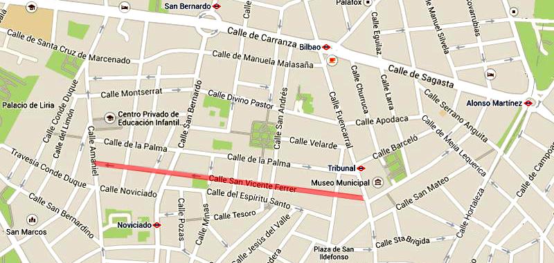 Plano de la calle de San Vicente Ferrer