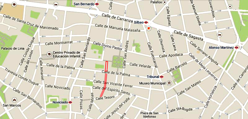 Plano de la calle de Santa Lucнa