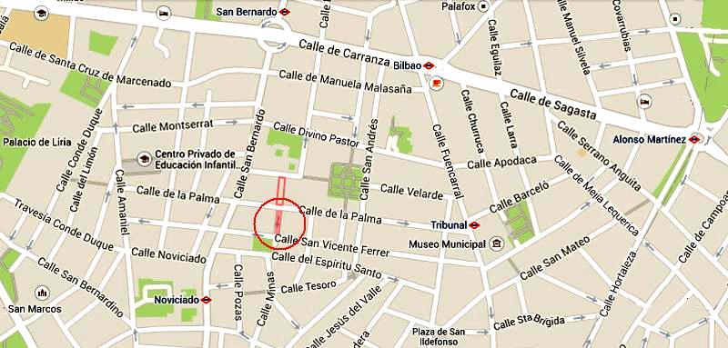 Plano de la Costanilla de San Vicente