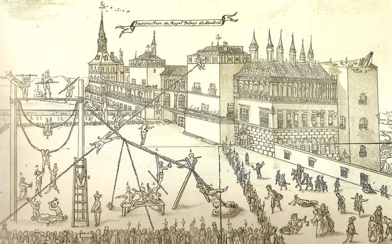 Actuación de titiriteros frente al Alcázar en el siglo XVI