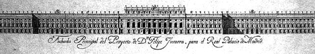 Fachada principal del proyecto de Juvara para el Palacio Real