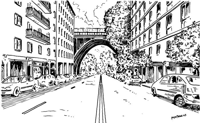 El Viaducto sobre la calle de Segovia
